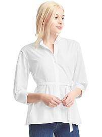 Poplin pleat tie shirt