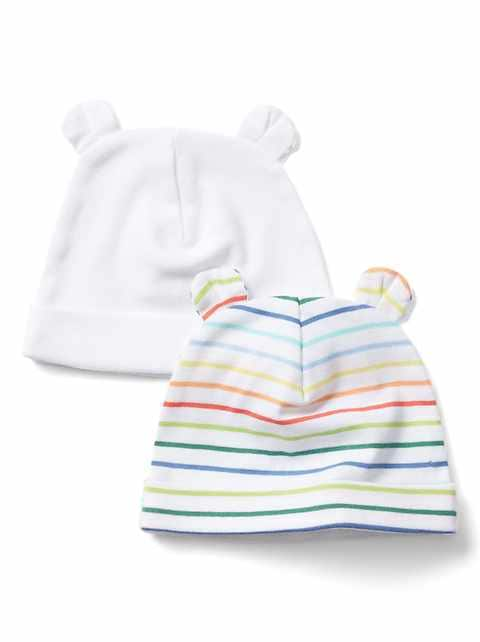 Baby First Favorite Stripe Bear Hat (2-Pack)