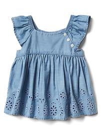 Eyelet chambray flutter top