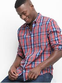True wash poplin plaid standard fit shirt