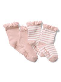 Chaussettes rayées avec bordure crochetée (paquet de deux)