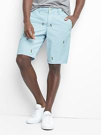 """Embroidered twill shorts (10"""")"""