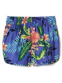 Island print dolphin shorts