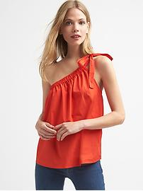 One-shoulder tie top