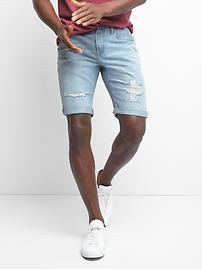 Short en denim à aspect usé (25 cm)