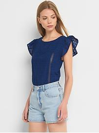 Denim check flutter sleeve tie top