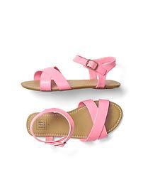 Faux leather crisscross sandals