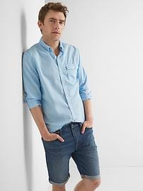 True wash poplin garment-dye slim fit shirt