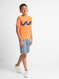 T-shirt à imprimé en fil flammé avec poche