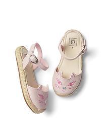 Sandales en toile à motif de chat