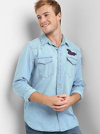 Denim embroidered western shirt