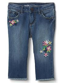 Stretch distress embroidery straight crop jeans