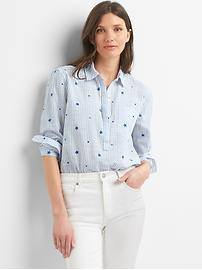 Boyfriend embroidered pinstripe popover