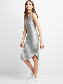 Stripe rib-knit halter dress