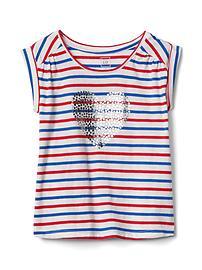 Americana short sleeve shirred tee