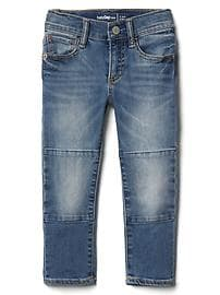 High stretch knee patch slim jeans