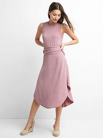 Wrap-belt midi dress