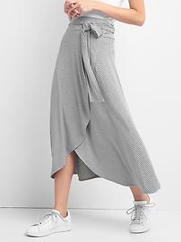 Stripe wrap midi skirt