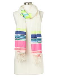 Mix stripe fringe scarf
