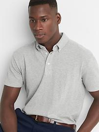 Button down collar pique slim fit polo