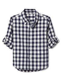Check poplin convertible shirt