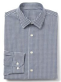 Stretch Poplin gingham slim fit shirt
