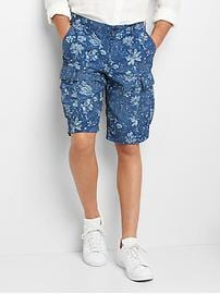 "12"" Floral Print Denim Cargo Shorts"