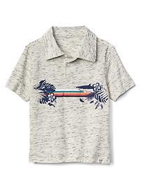 Graphic short sleeve slub polo