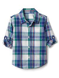 Plaid poplin convertible shirt