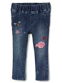 High stretch embroidery jeggings
