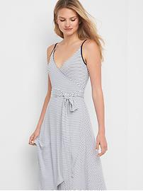 Stripe cami wrap dress