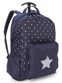 Sac à dos à roulettes à motifs d'étoiles à paillettes