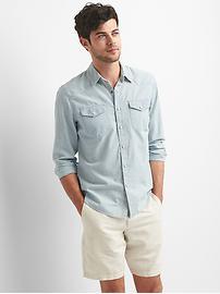 Western denim slim fit shirt
