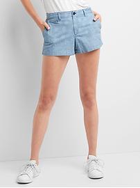 Chambray paisley shorts