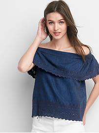 TENCEL&#153 off-shoulder eyelet top