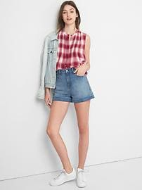 Pintuck plaid sleeveless shirt
