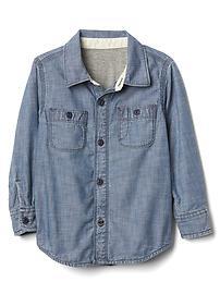 Jersey-lined chambray shirt