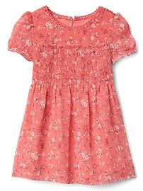 Floral smocked ruffle dress