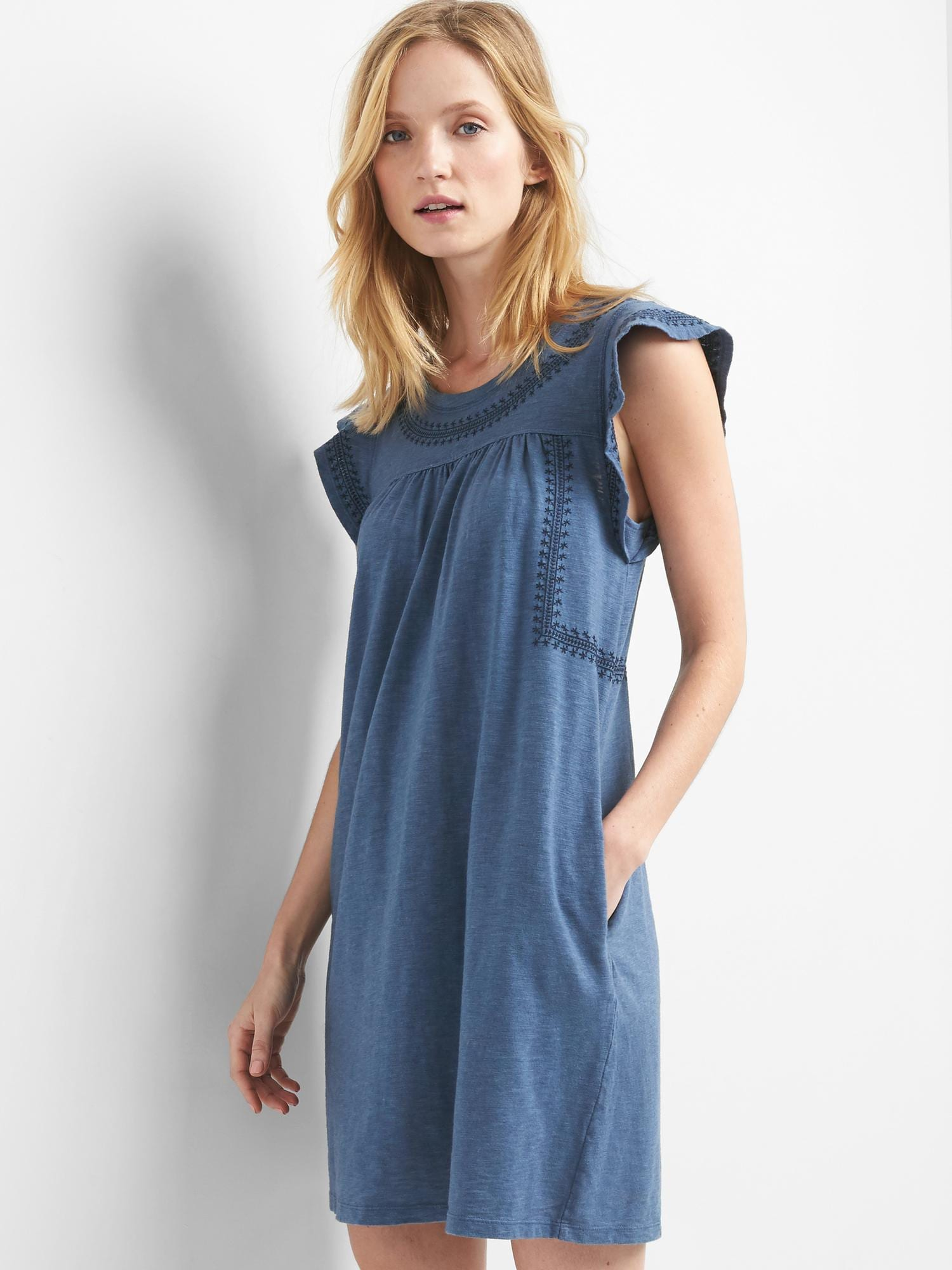 Embroidered slub jersey swing dress | Gap
