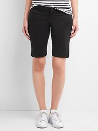 Maternity inset panels twill bermuda shorts