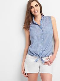 Maternity stripe tie-front linen shirt
