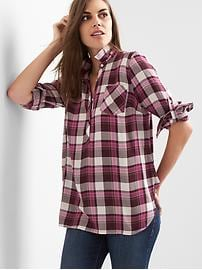 Maternity plaid twill convertible shirt