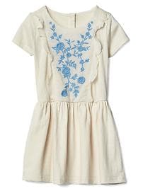 Floral embroidery ruffle dress