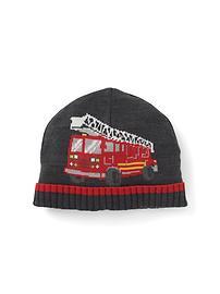 Bonnet à camion de pompiers en intarsia