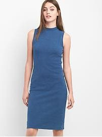 Sleeveless indigo mockneck dress