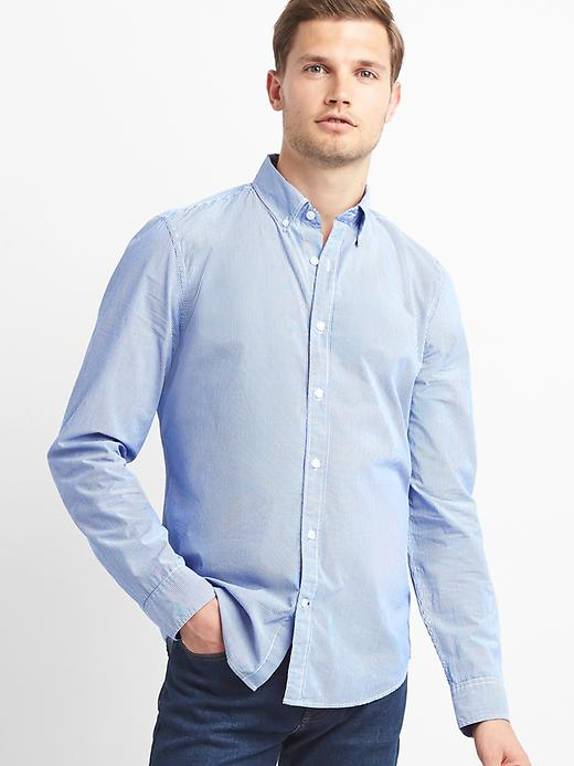 True Wash Poplin Micro Stripe Slim Fit Shirt by Gap