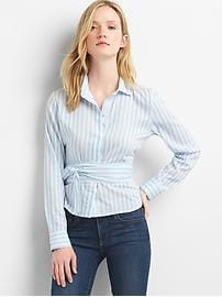 Stripe wrap-tie crop shirt