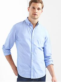 True wash poplin button-down slim fit shirt