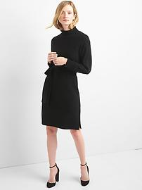 Funnel Neck Tie-Belt Dress