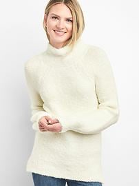 Boucle Funnel-Neck Pullover Sweater